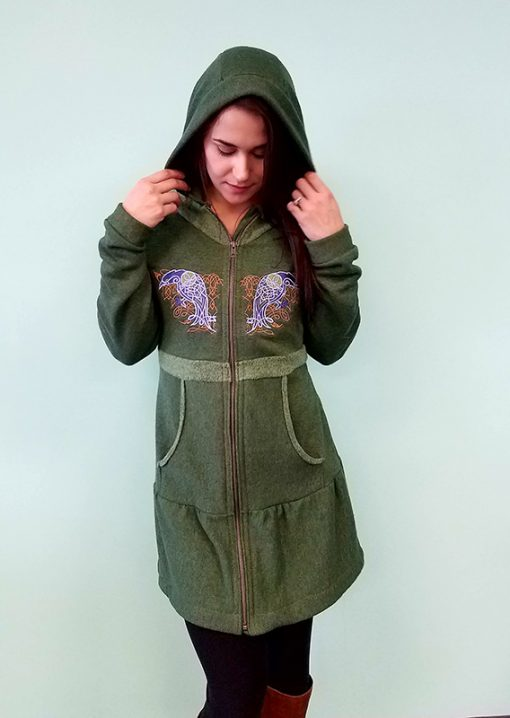 Nayeli Clothing. Hemp Hoodie with Raven